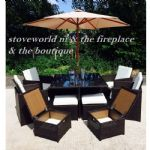 BROWN rattan cube 9 pc patio set with cover